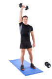 Standing Triceps Extension Dumbbell Workout Royalty Free Stock Image