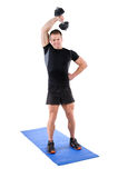 Standing Triceps Extension Dumbbell Workout Royalty Free Stock Photos