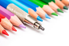 Standing Up From Coloring Pencils Crowd Concept Stock Photo