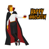 Standing vampire with wineglass in hand. Cartoon halloween chara Royalty Free Stock Image