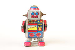 standing vintage tin robot, straight face without key Stock Photos