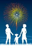 Standing Watching Fireworks Royalty Free Stock Images