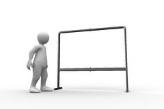 Standing white figure pointing to whiteboard. On white background Royalty Free Stock Photo