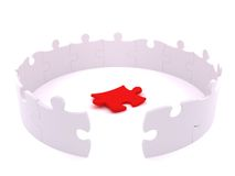 Standing white puzzle circle with lost peace Royalty Free Stock Photo