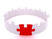Standing white puzzle circle with red peace Stock Image