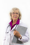 Standing Woman Doctor with Clipboard Royalty Free Stock Photo