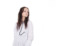 Standing woman doctor with stethoscope Stock Photo