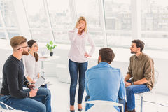 Standing woman has kind of dizziness Royalty Free Stock Photography
