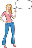 Standing woman in jeans with speech bubble pointing Royalty Free Stock Images
