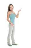 standing woman pointing stock images