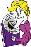Standing Woman reading a book stock illustration