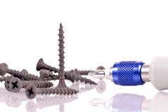 Standing Wood Screw. With Wood Working Tool Stock Photography