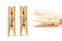 Standing wooden clothespin Royalty Free Stock Photography