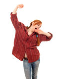 Standing yawning stretching woman Stock Image