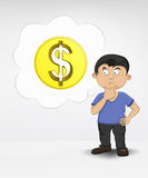 Standing young boy thinking about Dollar money business  Stock Image