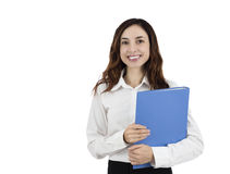 Standing young business woman holding a folder Royalty Free Stock Photography