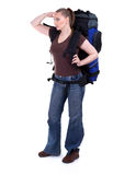 Standing young female tourist with backpack Stock Images