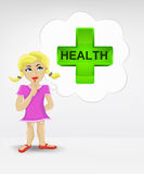 Standing young girl thinking about health vector Stock Image
