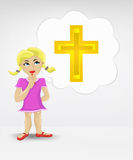 Standing young girl thinking about religion vector Stock Images