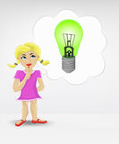 Standing young girl thinking about renewable energy vector Royalty Free Stock Photography