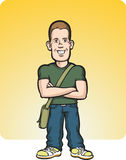 Standing young man with arms crossed. Vector illustration of standing young man with arms crossed Stock Images