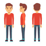 Standing young man, boy character in front, back, side view in casual clothes vector set Stock Photo