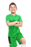 Standing young soccer player in sportswear Stock Photos