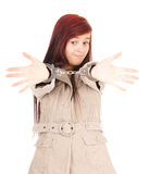 Standing young woman in handcuffs Stock Images