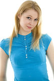 Standing young woman in turquoise blouse Stock Photography