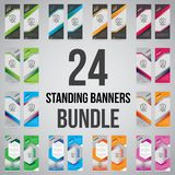 Bundle of 24 Roll Up Banner Template Mock Up stock photos