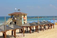 Standleibwächter auf dem Strand von Tel Aviv, Israel Lizenzfreies Stockfoto
