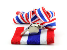 Standless whistle with Thailand national flag lanyard in heart s Royalty Free Stock Photos
