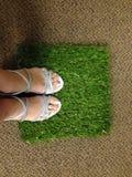 Stando su un quadrato di erba artificiale Fotografia Stock