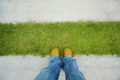 Stando sul percorso del cemento e dell'erba Fotografia Stock