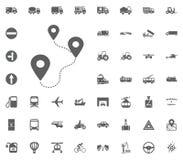 Standort a bis b-Ikone Gesetzte Ikonen des Transportes und der Logistik Gesetzte Ikonen des Transportes Lizenzfreies Stockfoto