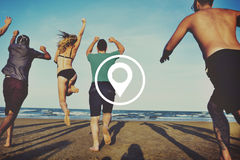 Standort-Navigations-Bestimmungsort-Reise-Positions-Konzept stockfotografie