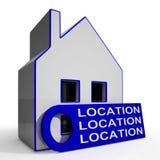 Standort-Standort-Standort-Haus bedeutet perfekten Bereich und Haus Stockbild
