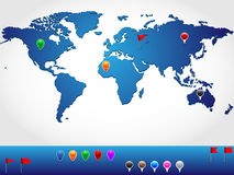 Standortweltkarte lizenzfreie abbildung