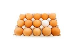 Standplatz aus Massekonzept mit Eiern heraus Lizenzfreies Stockfoto