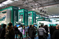 Standplatz des Kaspersky Labors in der CEBIT-Computerausstellung Stockbilder