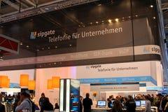 Standplatz von Sipgate in der CEBIT-Computerausstellung Lizenzfreie Stockbilder