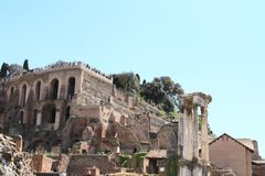 Standpunkt über Forum Romanum Stockfoto