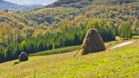Standpunkt auf einer Landschaft des Bergs Bobija, der Hügel, der Heuschober, der Wiesen und der bunten Bäume Lizenzfreies Stockbild