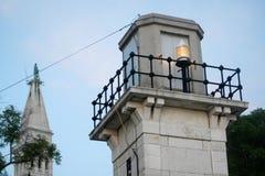 Standpunkt in Rovinj auf adriatischer Küste Stockbilder