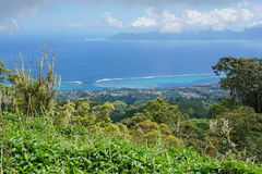 Standpunkt vom Berg von Tahiti-Französisch-Polynesien stockfoto
