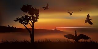 Standpunt op een baai een zonsondergang met een vlucht van zeemeeuwen stock illustratie