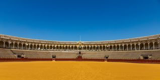 Stands in the bullring Arena Real Maestranza de Cavalry Plaza de toros de la Real Maestranza de Caballeria in Seville, Spain stock photos
