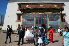 Mongolia Ulaanbaatar Buddhist monastery Gandan wedding stock photos