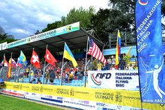 Stands and Frisbee Federation flags exhibiting. Royalty Free Stock Photos