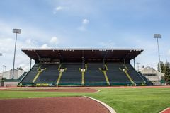 Stands at historic Hayward Field in Eugene Oregon. APRIL18, 2018 EUGENE OREGON - The seating or stands at the historic Hayward Field  at the University of Royalty Free Stock Photo
